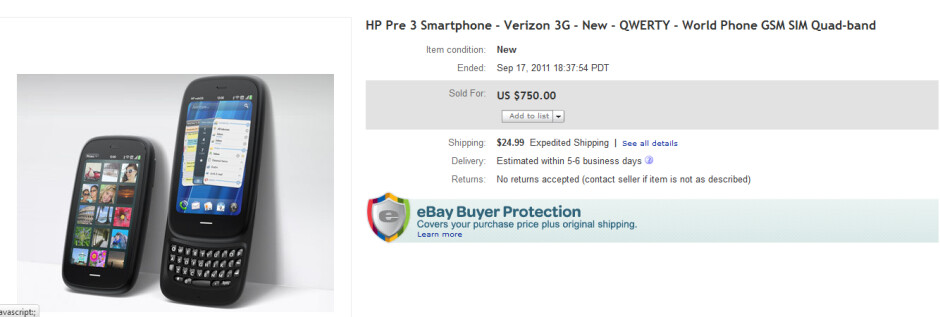 The winning bid for the Verizon branded HP Pre 3 - Unshipped AT&T and Verizon HP Pre 3 show up on eBay along with AT&T TouchPad 4G