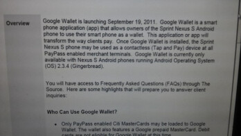 This leaked document says to expect Google Wallet to launch on Monday