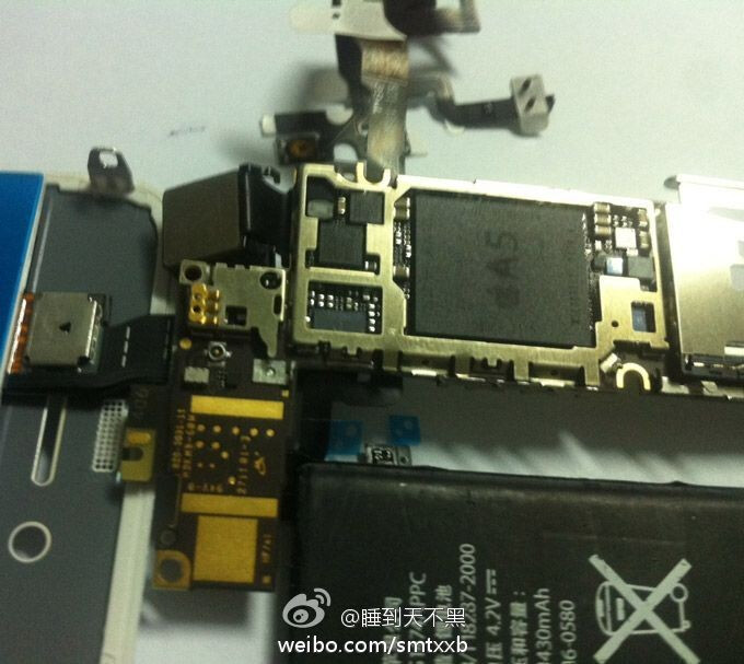 Alleged next iPhone A5 chipset leaked on Weibo (left) - Alleged next iPhone component shot reveals Apple A5 chip