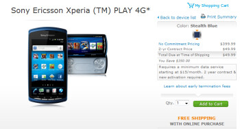 The Sony Ericsson Xperia PLAY 4G is now available from AT&T