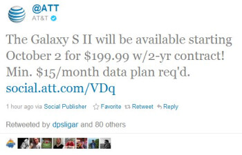 AT&T's Samsung Galaxy S II is now official-official for October 2nd at $199.99 on-contract