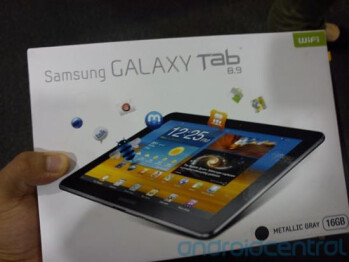 The box for the Samsung GALAXY Tab 8.9 tablet