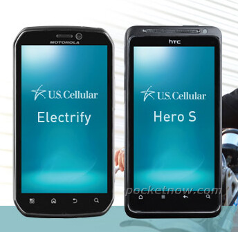 The Motorola ELECTRIFY (left) and the HTC Hero S (right) - HTC Hero S leaks, sports US Cellular branding