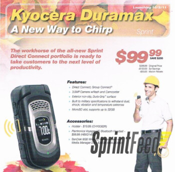 Kyocera DuraMax is scheduled to land on Sprint's lineup on October 2nd for $99.99