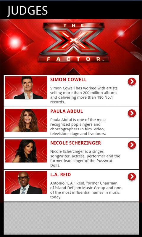 The X-Factor app allows you to vote for your favorite contestant - X-Factor app for Android keeps you up to date on the $5 million contest