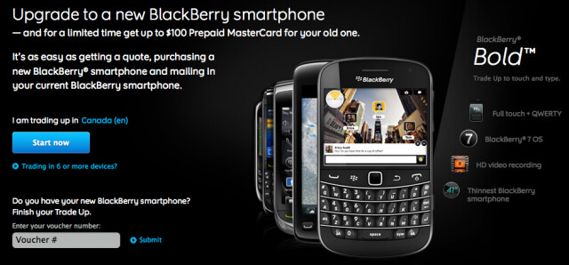 Trade-in your old BlackBerry for a new BlackBerry 7 OS phone - RIM now allows you to trade-up to BlackBerry 7 OS devices