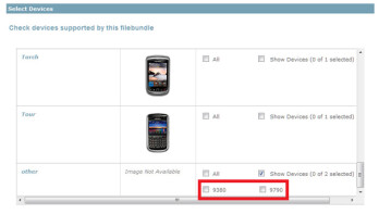 The BlackBerry App World developer's portal revealed the BlackBerry Bold 9790 and the BlackBerry Curve 9380