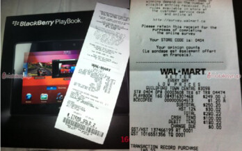 Walmart receipt for a $249.99 PlayBook