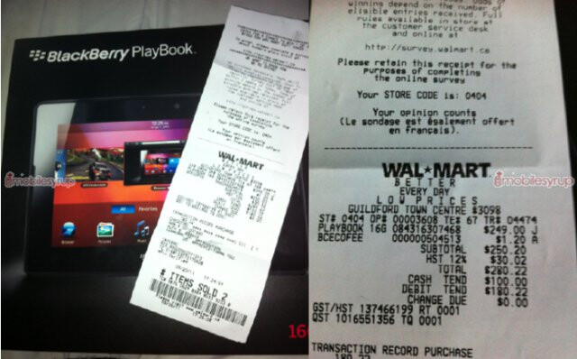 Walmart receipt for a $249.99 PlayBook - BlackBerry PlayBook receives a dramatic price cut in Canada - as low as $250