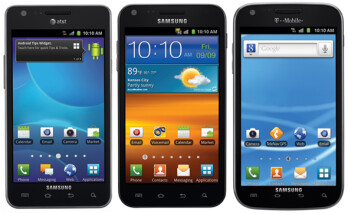 The U.S. versions of the Samsung Galaxy S II, not included in the 10 million units already sold; from L to R, AT&T's model, Sprint's Epic 4G Touch and T-Mobile's variant