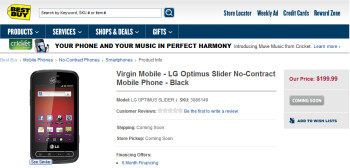 Best Buy plans on offering the LG Optimus Slider for Virgin Mobile