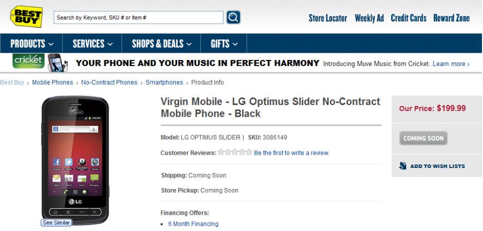 Best Buy plans on offering the LG Optimus Slider for Virgin Mobile - LG Optimus Slider coming soon at Best Buy sans contract, for Virgin Mobile