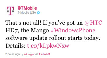 This tweet from T-Mobile confirms the Mango update for the HTC HD7