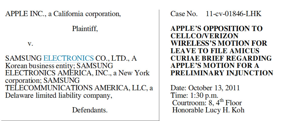 """Apple is asking the court for a preliminary injunction against certain Samsung devices - Apple uses technicality in an attempt to prevent Verizon from being a """"friend of the court"""""""