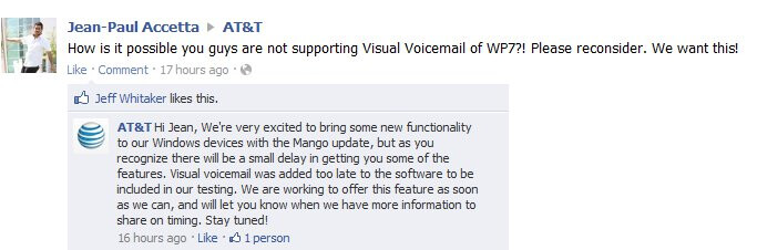 AT&T is working on bringing visual voicemail to its Windows Phone Mango enabled smartphones