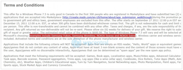 These rules to a Microsoft Canada contest revealed the name of four Windows Phone 7.5 handsets before the names were removed - Microsoft Canada contest leaks out the name of four Windows Phone Mango handsets