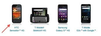 The elements from T-Mobile's Android page (R)  show that the phone labeled the HTC Revolution 4G is actually the LG  myTouch