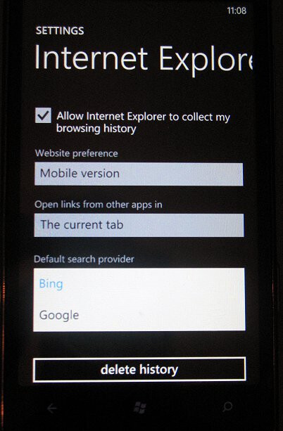 T-Mobile HTC HD7 owners running Mango can select their search engine preference in IE9