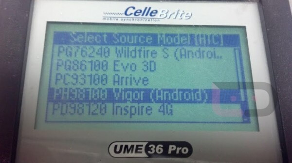 On the Cellbrite system from L to R, the HTC Vigor, the Google Nexus Prime and the Motorola DROID HD - Verizon's big trio appears on Cellebrite system, HTC Vigor, Google Nexus Prime and Motorola DROID HD