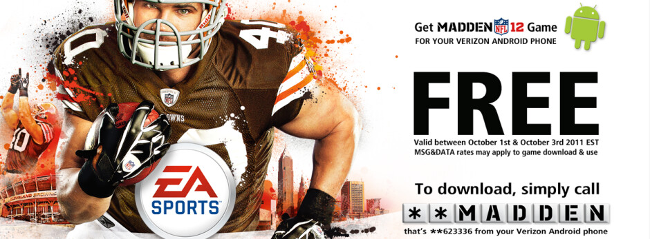 Starting tomorrow until October 3rd, Verizon will give Android users Madden NFL 12 - Verizon to offer Madden NFL 12 for free from October 1st to the 3rd