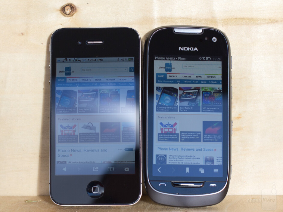 Left to right - Apple iPhone 4, Samsung Galaxy S II, Nokia 701 - Thousand points of light: the brightest mobile display to date on the Nokia 701 compared