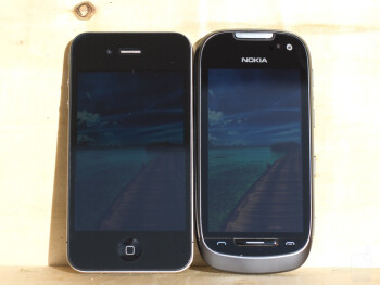 Left to right - Apple iPhone 4, Samsung Galaxy S II, Nokia 701