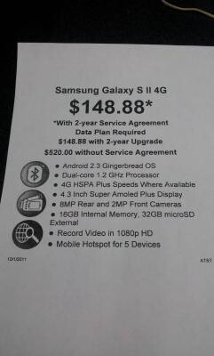 AT&T's version of the Samsung Galaxy S II is $188.88 at Walmart with a signed contract