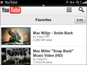 The new YouTube UI for BlackBerry 7 OS users