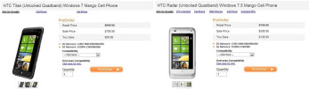 Pre-orders for unlocked versions of the HTC Titan and Radar are now ready in the US