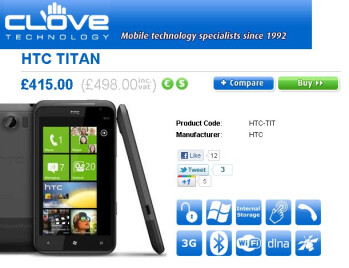 Unlocked HTC Titan is finally available for purchase through Clove UK