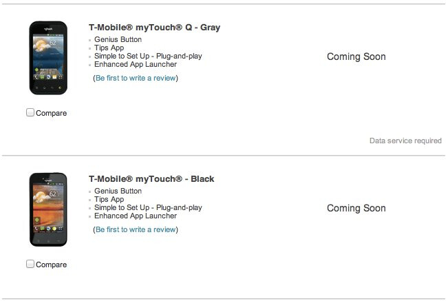 """LG's myTouch & myTouch Q handsets are found to be """"coming soon"""" on T-Mobile's site"""