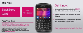 T-Mobile is giving away the BlackBerry Curve 9360 for free to developers, but a contract is required