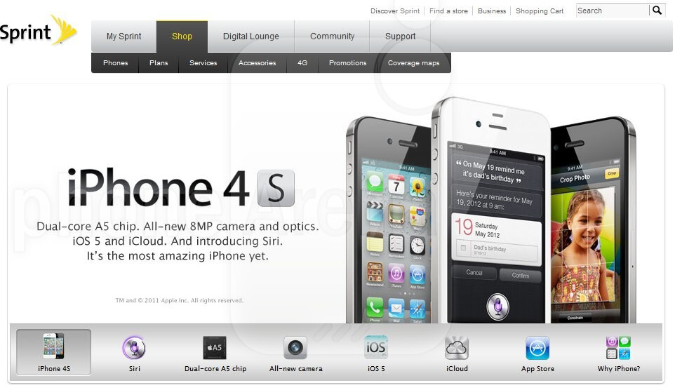 sprint iphone pre order sprint iphone 4s landing page is now live with pre orders 1726