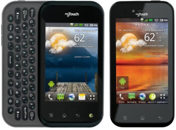 The LG myTouch Q (L) and the LG myTouch (R)