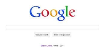 Steve Jobs is commemorated on the Internet including Google.com