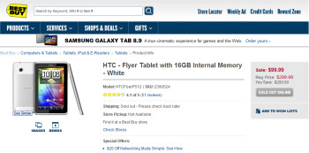 Best Buy's $99 price for the HTC Flyer tablet (L)...is a mistake (R)