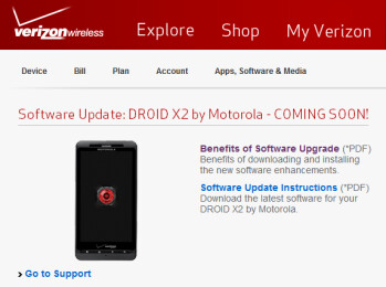 An update for the Motorola DROID X2 is coming soon