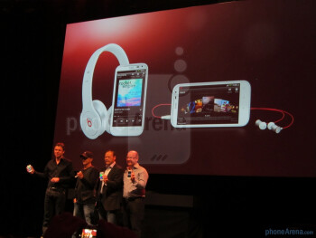 HTC CEO Peter Chou and company on stage