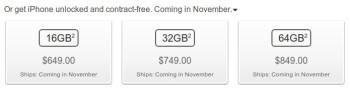 Apple iPhone 4S pre-orders start, unlocked iPhone 4S arriving in November