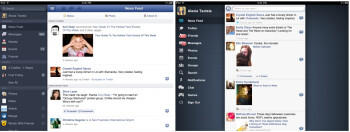 The Facebook app on the left, the MyPad on the right.