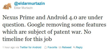 Are Android Ice Cream Sandwich and Nexus Prime delayed due to an Apple patent dispute?