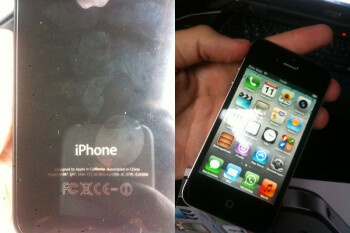 Images of the new Apple iPhone 4S box (L) and the phone itself (R)
