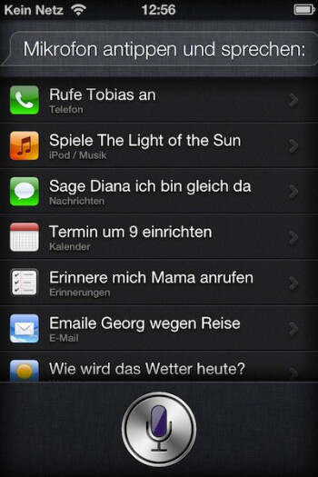 The Siri voice recognition feature-in German