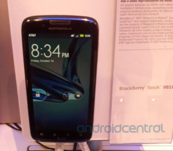 The Motorola ATRIX 2 appears on display at an AT&T store one day before its launch
