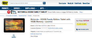 The Family Edition of the Motorola XOOM is now available from Best Buy