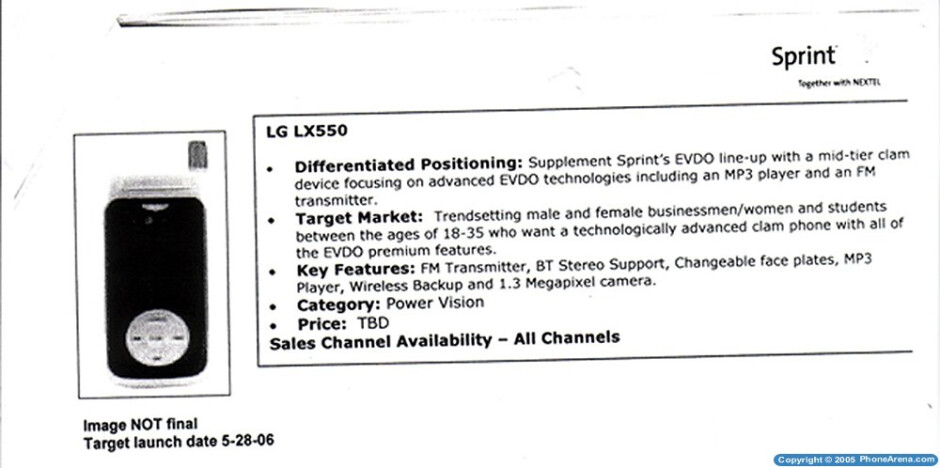 Sprint to release LG LX550 clamshell in May?
