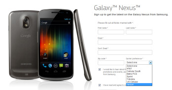 Seven carriers are listed on the Samsung GALAXY Nexus sign-up page
