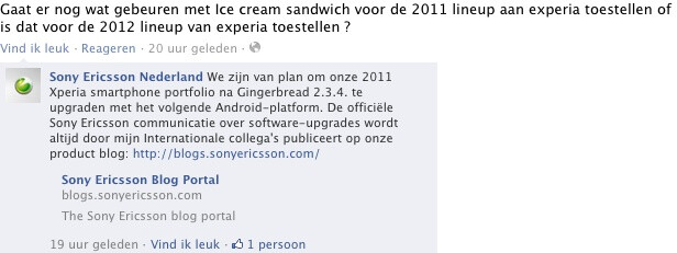 The Facebook post in Dutch speaks about Android 2.3.4 and the next update. - Sony Ericsson to update its 2011 Xperia lineup to Android 4.0 Ice Cream Sandwich?