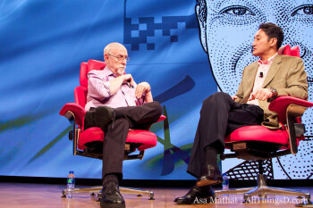 Walt Mossberg at left with Sony executive Kaz Hirai at the AsiaD conference