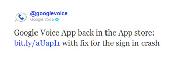 A tweet from Google Voice tells us...